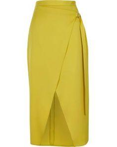 Yellow D-ring Tie Side Wrap Midi Skirt