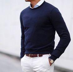 Mens fashion Blue shirt, white trousers, blue cardigan #MensFashionChinos