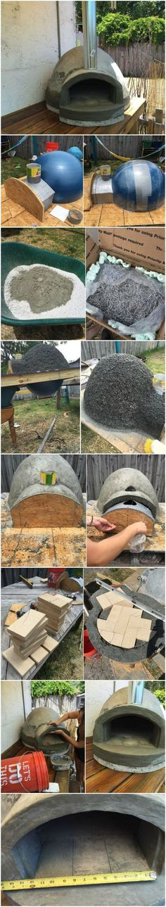 Wood fired Pizza Oven made with an exercise ball for $135 #shedplans