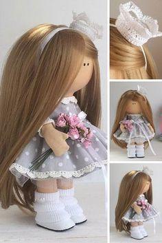 Princess doll handmade Tilda doll Interior doll Art doll brown brown grey colors Soft doll Cloth doll Fabric doll by Master Maria Lazareva