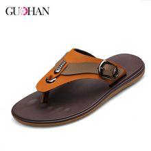 Big Size 45 Men Flip Flops Genuine Leather Men Sandals Summer Shoes Men Beach Slippers 2016(China (Mainland))