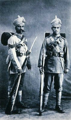 This is a great picture of Indian soldiers of the British Army, Stationed In Tientsin, China in 1911.