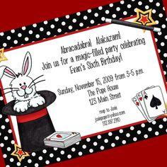 abracadabra invite idea Cub Scouts Pinterest Magic party