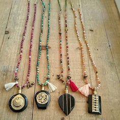 Frolic Stones...vintage perfume bottle necklace with semiprecious stones