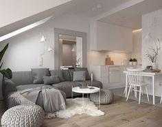 Apartament Praska Park - Średni salon z kuchnią z jadalnią, styl skandynawski - zdjęcie od ELEMENTY