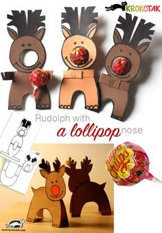 Paper Reindeers with lollypop noses