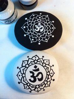 Om Mandala painted stones duo