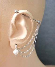 Industrial Barbell Ear Piercing with white by triballook on Etsy, $19.00