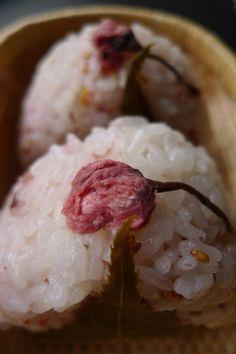 Japanese Tsukemono, Salt-Pickled Sakura Cherry Blossom on Onigiri Rice Ball|桜の塩漬け