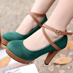 Must. Have. These! Brown Paneled Cross Strap Womens Plus Size Spotlight Platform Green High Heels