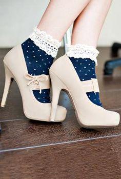 Milady's Boudoir Crochet Lace Trim Polka Dot Print Ankle Socks in Navy Blue | Sincerely Sweet Boutique