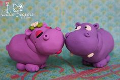 Hippos in Love sculpted by artist Christina Patterson from I Do Cake Toppers