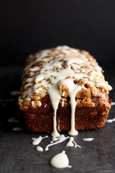 Pumpkin Streusel Bread with Maple Glaze @amyleescott