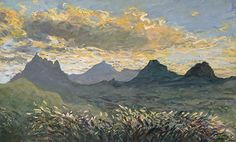 [1] The last sunset of the 20th Century- 31 Dec 1999 - view from Le Ruisseau Rose - Mauritius - (half an hour before [2]) by Jean-Francois Koenig Acrylic ~ 39 cm x 61 cm