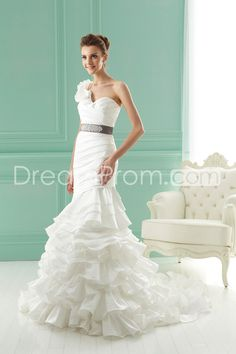 Fantastic Trumpet/Mermaid One-Shoulder Floor-Length Chapel Ruched Wedding Dresses