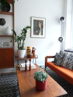 mid century modern, black & white, plants