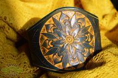 yellow & blue leather mandala cuff ~ livit vivid