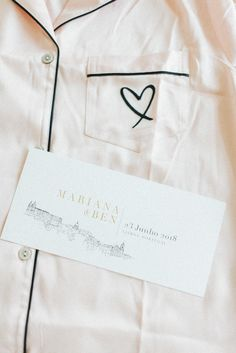 Gold embossing and line drawings for a minimal city wedding