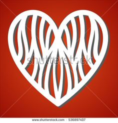 Laser cut heart  for paper cutting. Valentine's day and love symbol decoration. Paper heart for Valentine's day. Heart silhouette. Vector file for laser cutting, wood cutting and metal cutting