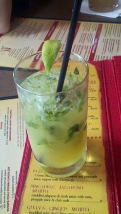 This is a Pinapple Jalapeno Mojito my husband got at this Tapas joint we went to for my birthday. It was AWESOME!