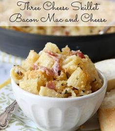 Three Cheese Skillet Bacon Mac and Cheese | Baked by Rachel #sponsored