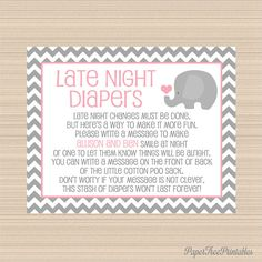 Elephant Baby Shower Late Night Diapers by PaperTreePrintables