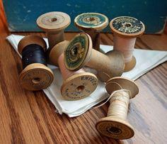 Spools, Wooden, Vintage Sewing