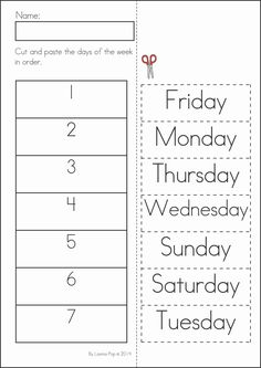 Kindergarten SUMMER Review Math & Literacy Worksheets & Activities. 104 pages. A page from the unit: Days of the week cut and paste