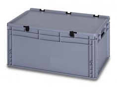 56 Litre Lidded European Standard Plastic Container -Stackable Straight Sided Storage Box