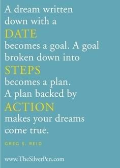 A dream written down with a date becomes a goal. A goal broken down into steps becomes a plan. A plan backed by action makes your dream come true.