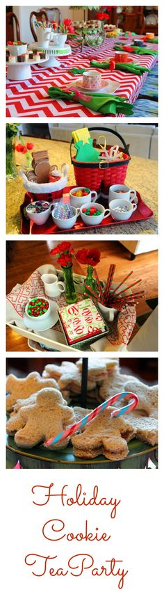 Ideas for a holiday tea party complete with cookie baking.