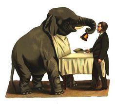 ELEPHANT rings bell, circus, Victorian die cut
