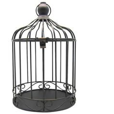 Halloween Bird Cage Décor (390 PHP) ❤ liked on Polyvore featuring home, home decor, holiday decorations, halloween home decor, bird cage home decor and black home decor