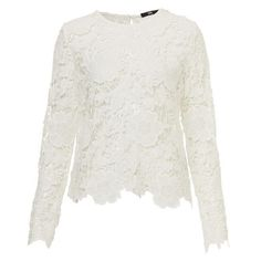 SCALLOP LACE TOP (£42) ❤ liked on Polyvore