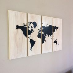 Large World Map Wall Art on Wood - 4 Piece Set - Rustic Style, Home Decor, Farmhouse Decor, Wood Map, Timber Map - White Wash Wooden Map Big