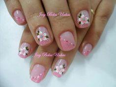 Colorful Nail Designs, Nail Art Designs, Nails Design, Nail Manicure, My Nails, Flower Nails, Artsy, Polish, Floral