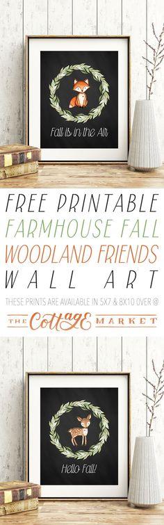 Free Printable Farmhouse Fall Woodland Friends Wall Art