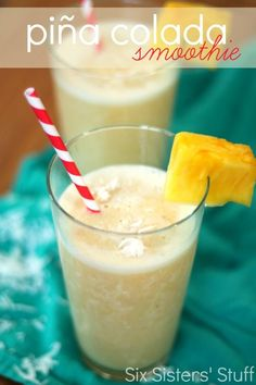 Pina Colada Smoothie on SixSistersStuff.com | This Pina Colada Fruit Smoothie is so light and refreshing! A perfect Spring or Summer treat!