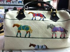 So much fun!   Canvas from Po's Point - Horse Blanket Satchel Small ETPS88 1673. http://www.posneedlepoint.com/?page_id=94&slug=product_info.php&products_id=389