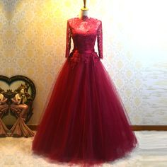 Find More Evening Dresses Information about Dubai Elegant Burgundy A Line High Neck Lace Long Sleeve Evening Dresses 2016 Buttons Formal Party Prom Celebrity Gowns TE210,High Quality celebrity gown,China long sleeve evening Suppliers, Cheap evening dress 2016 from do dower LaceBridal Store on Aliexpress.com