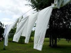 Linens on a clothesline.