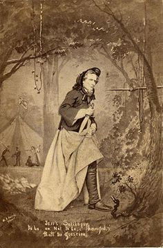 "(c. 1865) ""Jeff's Soliloquy"", photo-collage by Francis Hacker. In this silly, propagandist photo-collage, Jefferson Davis, President of the Confederate States of America is shown in lady's clothing, confronted with a Union rifle as he is captured at the end of the Civil War. Apparently, on May 10, 1865, when Davis was finally caught, he was in fact wearing his wife's overcoat and a shawl in an effort to escape detection."