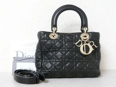 7a94dba099a r5789 Auth CHRISTIAN DIOR Lady Dior M Black Cannage Soft Lambskin 2 Way  Hand Bag