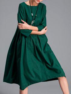 #AdoreWe MITING Green 3/4 Sleeve Cotton-blend H-line Solid Midi Dress - AdoreWe.com