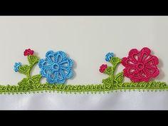 MOTİFLİ TIĞ OYASI VEYA MUTFAK HAVLUSU YAPILIŞI TÜRKÇE VİDEOLU | ÖRGÜVAKTİ Crochet Edging Patterns, Crochet Borders, Saree Kuchu Designs, Kare Kare, Russian Crochet, Creative Embroidery, Crochet Clothes, Diy And Crafts, Crochet Earrings