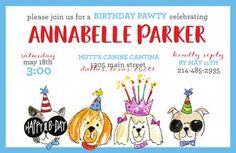 Kids Birthday Invitations - partyinvitations.com Birthday Invitations Kids, Free Paper, Dog Design, Card Stock, Shapes, Dogs, Paper Board, Pet Dogs, Doggies