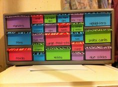 Desk Toolbox (Lowe's hardware organizer) great for ontop of the desk!