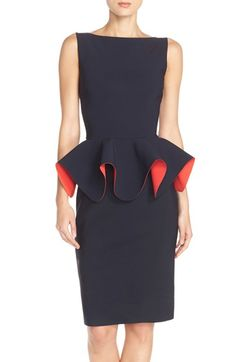 Chiara Boni La Petite Robe 'Eden' Peplum Scuba Sheath Dress available at #Nordstrom