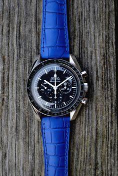 Omega on a Royal Blue Alligator watch band strap
