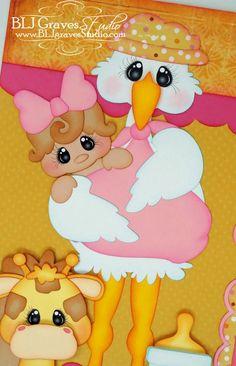 Elite4U Premade Scrapbook Pages Paper Piecing Baby Girl Stork BLJgraves 179